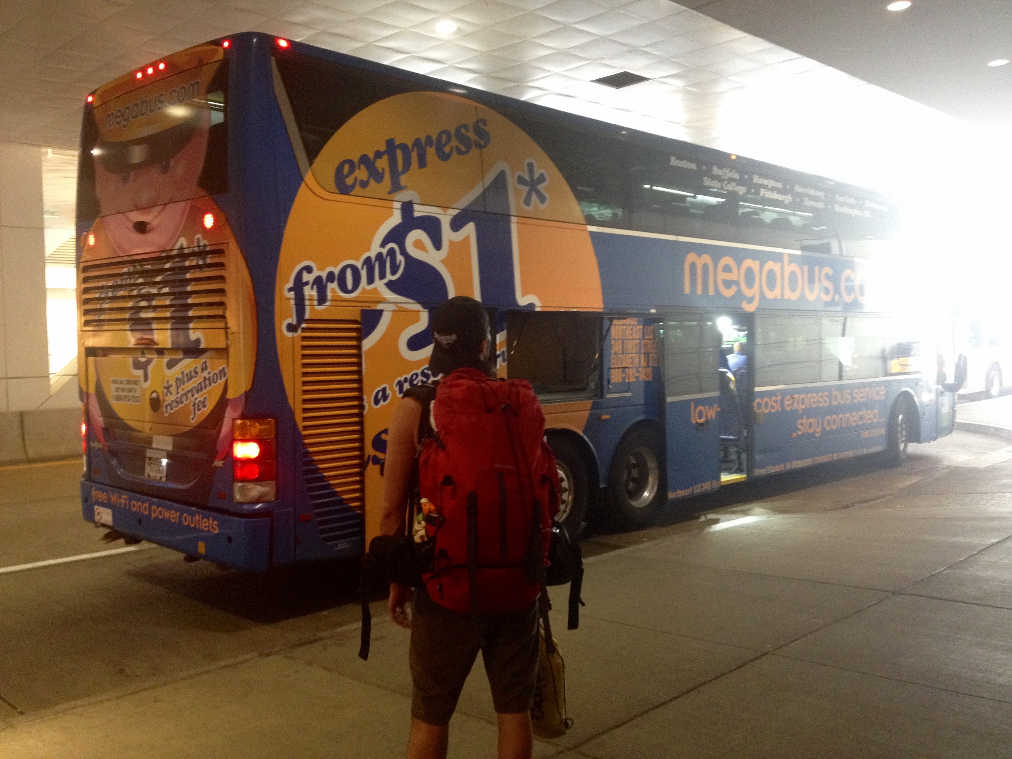 Ready to board the Megabus !!