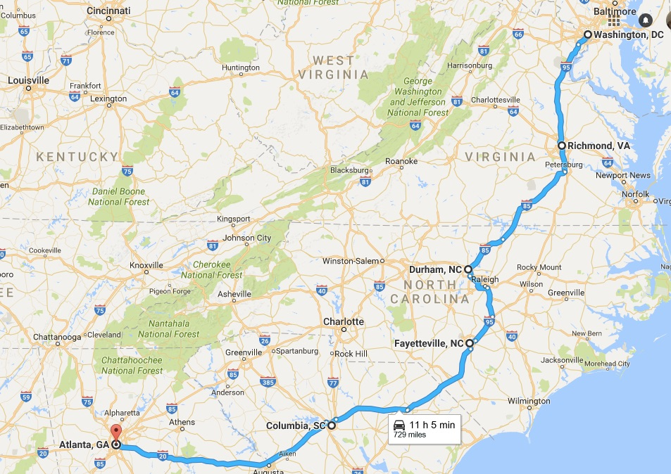 Map Washington to Atlanta