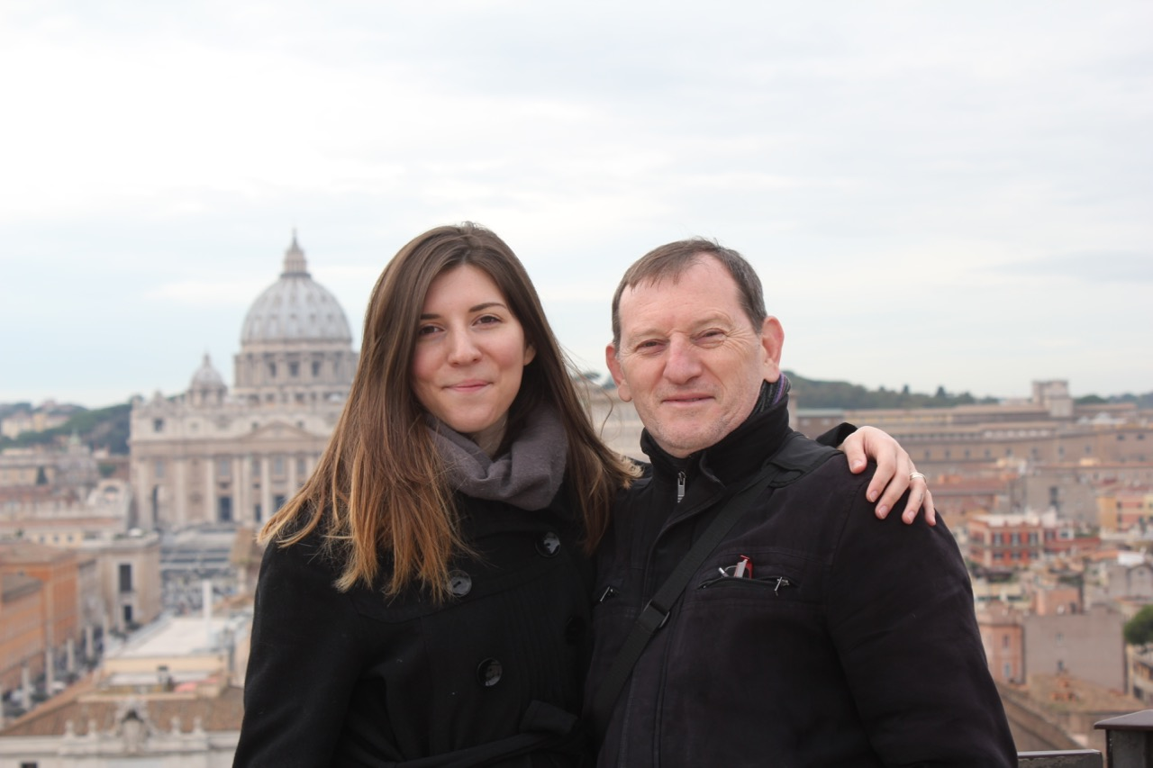 With my dad in Rome. His wife Isabelle took the picture