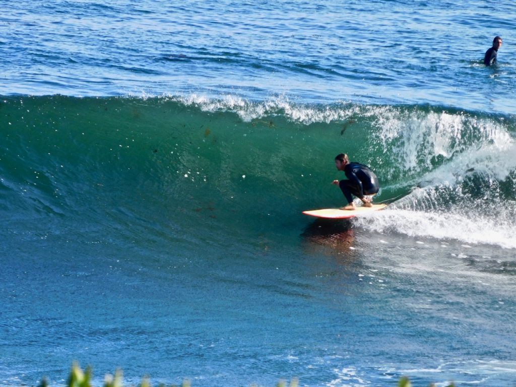 Taking a wave in Santa Cruz