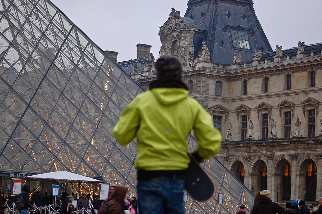 Winter in Paris - Skateboarding at the Louvre Pyramids (12)