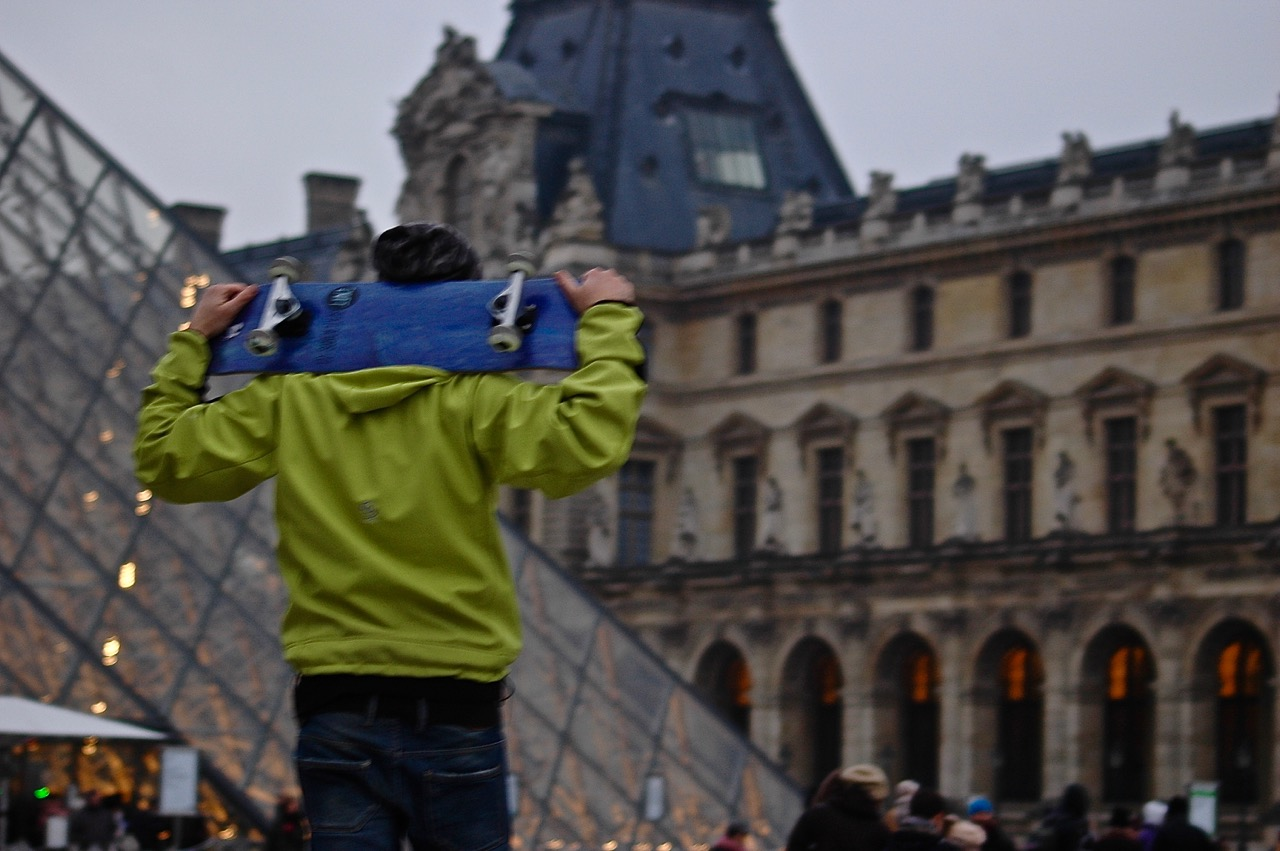 Winter in Paris - Skateboarding at the Louvre Pyramids (01)