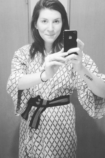 Alice wearing a Yukata rent from Oak Cabin Hostel in Tokyo