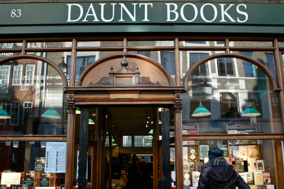 Alice in front of Daunt Books during our Harry Potter weekend in London