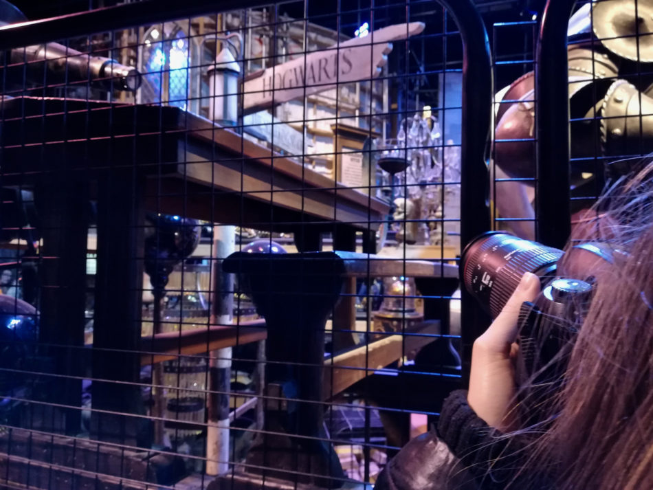 Alice shooting props at the Harry Potter Studios in London