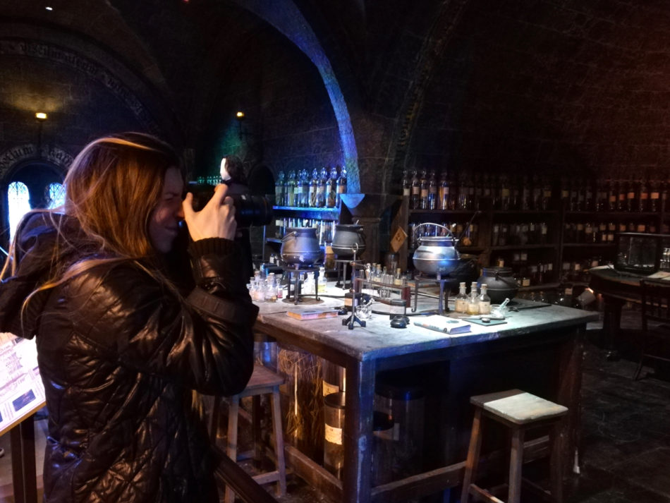 Alice shooting the Potions Classroom at the Harry Potter Studios in London