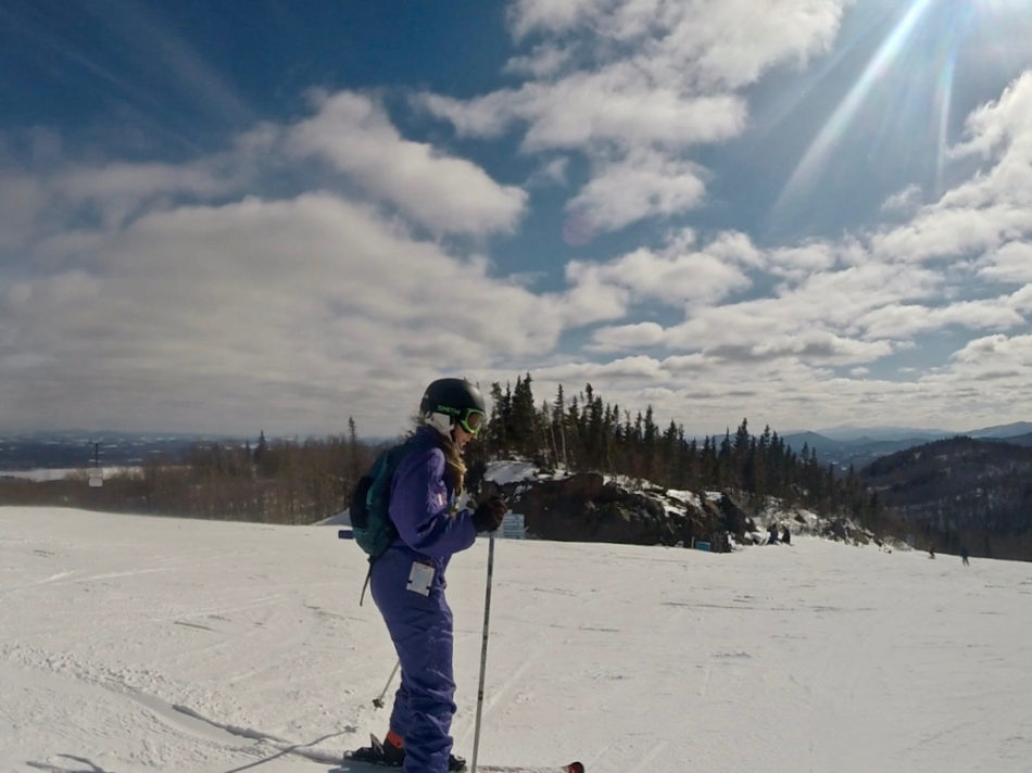 Alice on one of the green slopes in Mont Orford - a ski resort in Quebec region