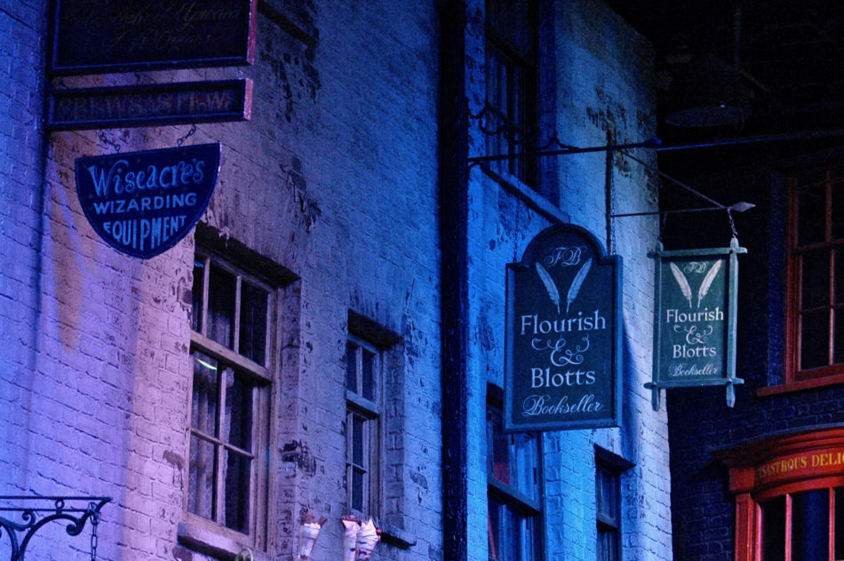 Diagon Alley wall at the Harry Potter Warner Bros Studio