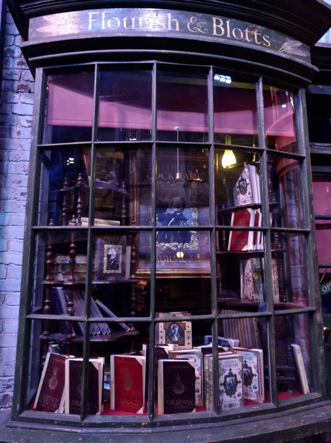 Flourish and Botts in Diagon Alley at the Harry Potter Warner Bros Studio