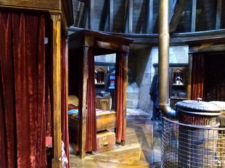 Gryffindor Boys Dormitory beds at the Harry Potter Warner Bros Studio