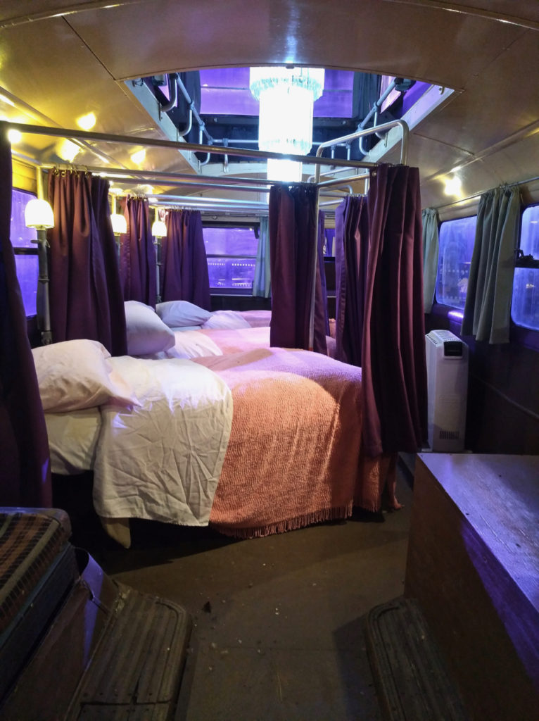 Inside the Knight bus at the Harry Potter Warner Bros Studio
