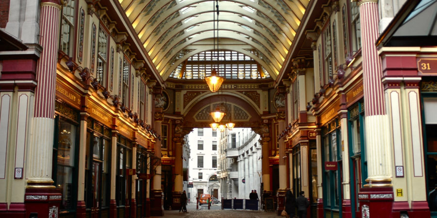 Magical view of Leadenhall Market used as Diagon Alley in the Harry Potter movies