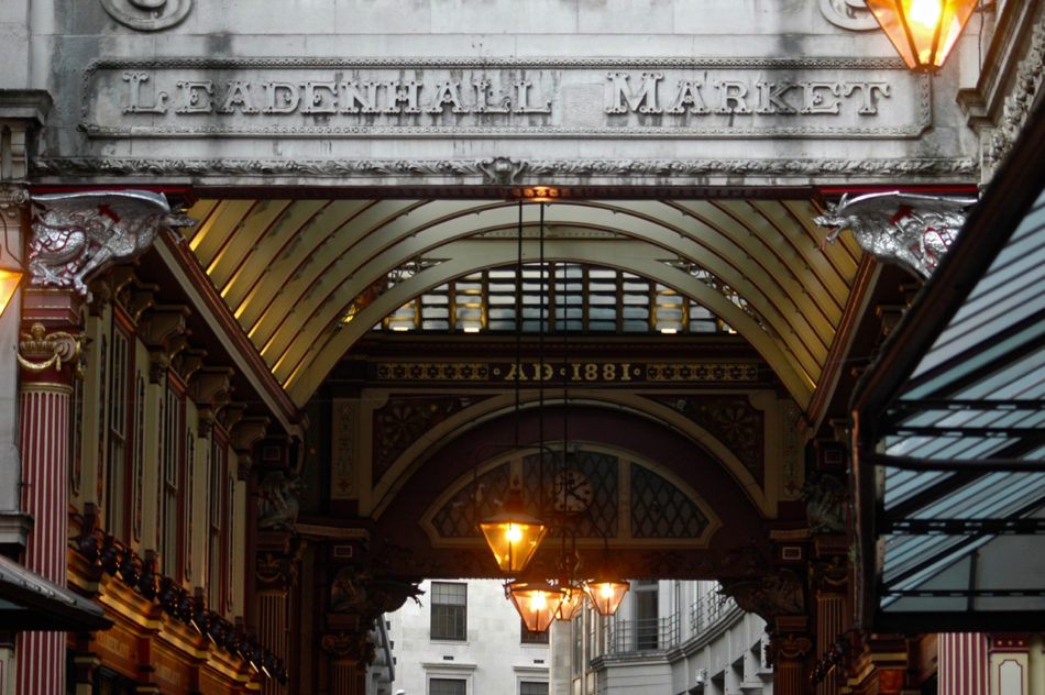 The entrance to Leadenhall Market aka Diagon Alley