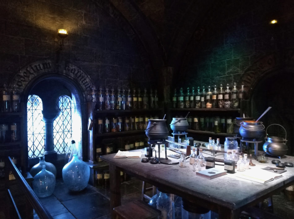 Left side of the Potions Classroom at the Harry Potter Studios