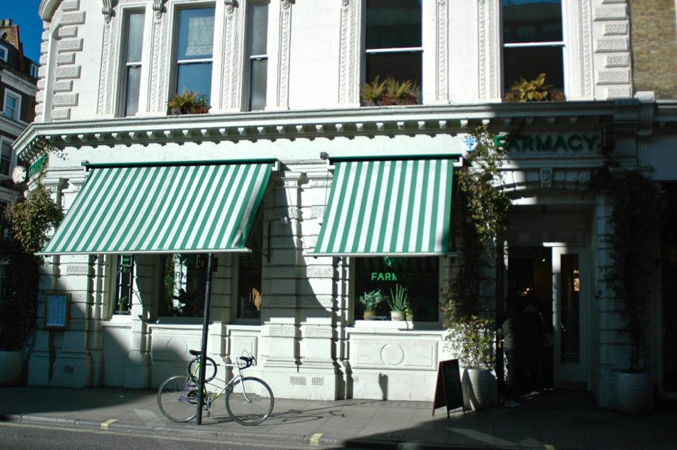 Outside Farmacy vegan friendly restaurant in Notting Hill London