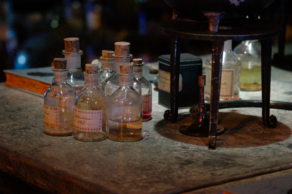 Potions bottles on a desk at the Harry Potter Warner Bros Studio