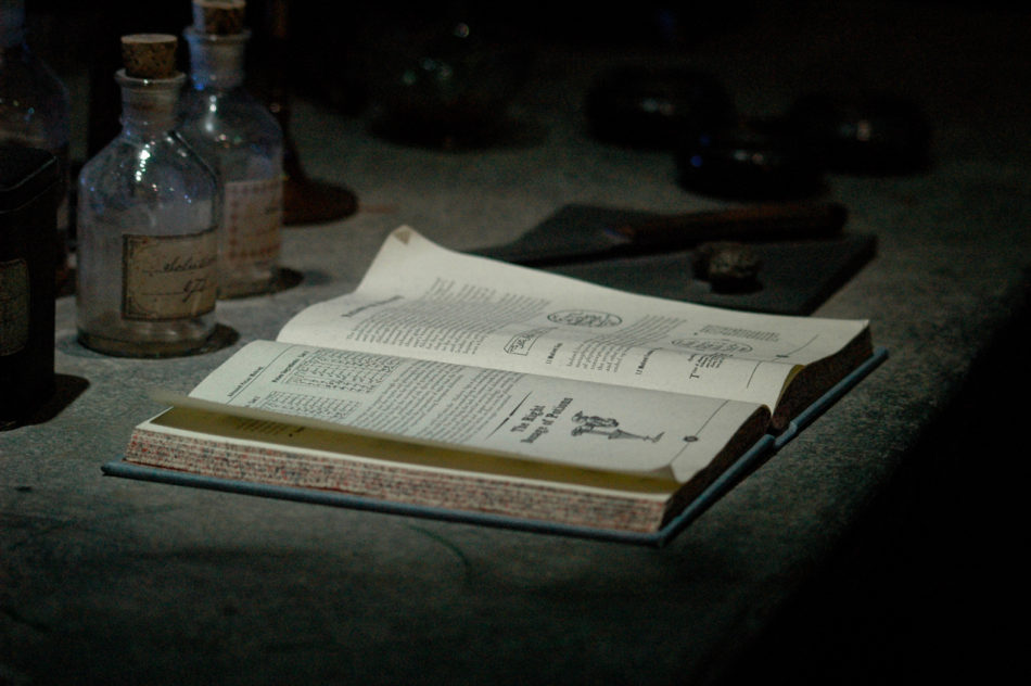 Potions text book in the Potions Classroom at the Harry Potter Warner Bros Studio