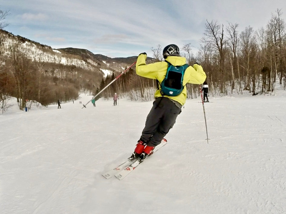 Simone skiing at Mont Orford ski resort