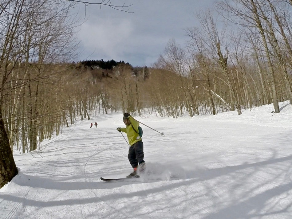 Simone skiing on the Canadian ski mountain Mont Orford