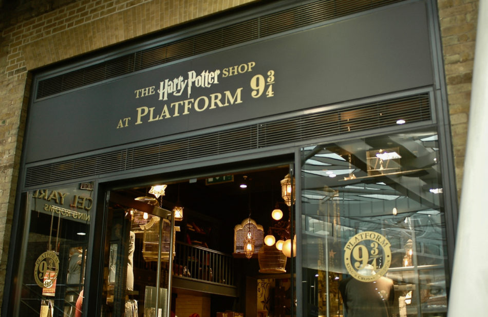 The shop at platform 9 3/4 in Kings Cross Station in London - the end of the BritMovieTours Harry Potter bus tour in London