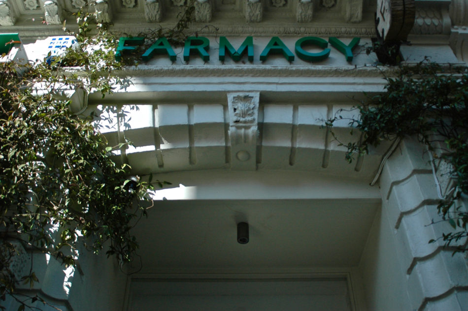 The sign of Farmacy restaurant from outside in Notting Hill