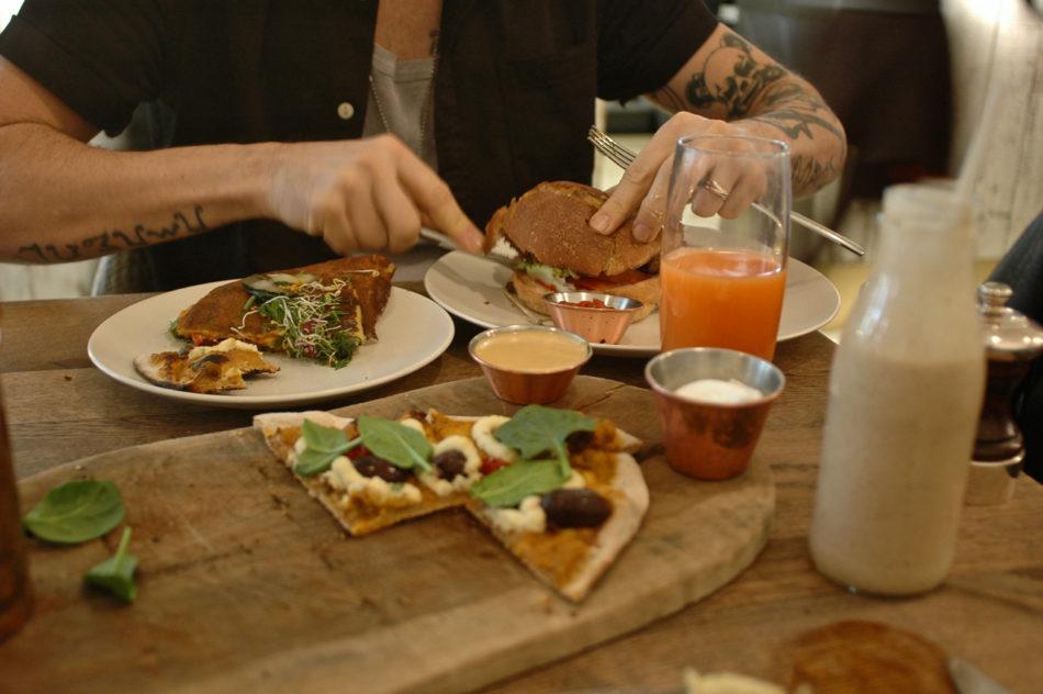 Vegan burger and vegan omelette at Farmacy restaurant in Notting Hill