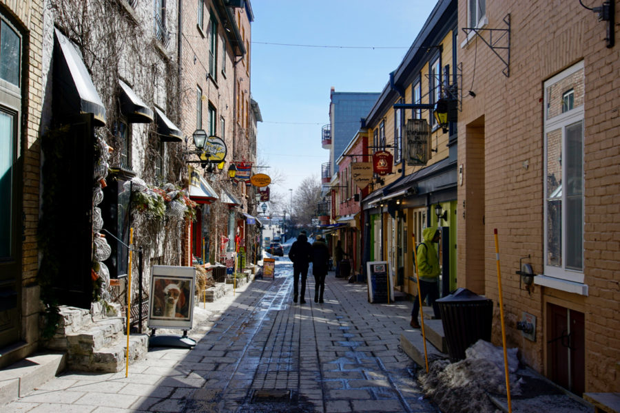 Cute Petit Champlain district street in Old Québec