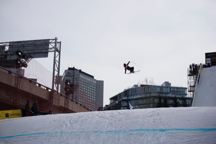 Professional skier competiting at Big Air Worldcup 2018 in Québec City