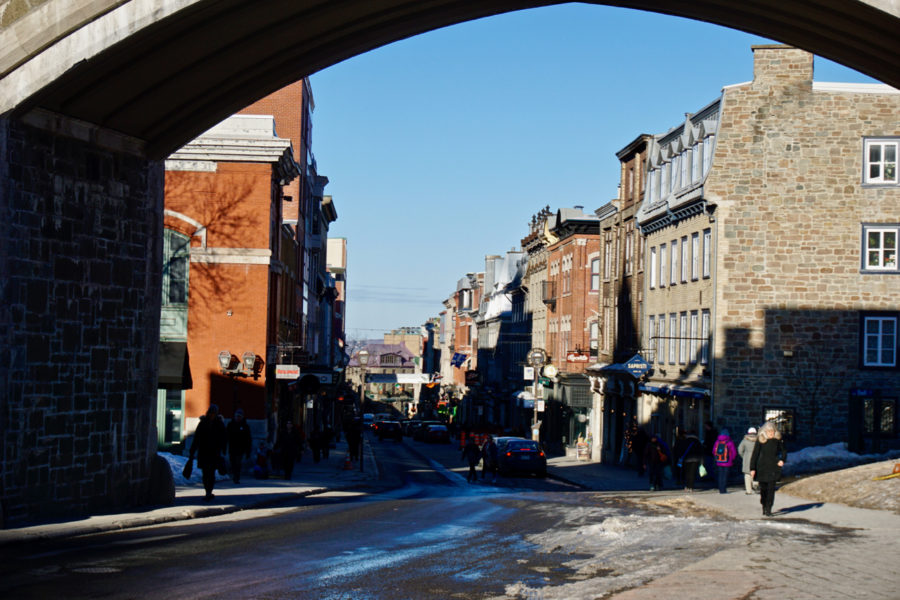 Rue Saint-Jean viewed from the Porte Saint-Jean in Québec city