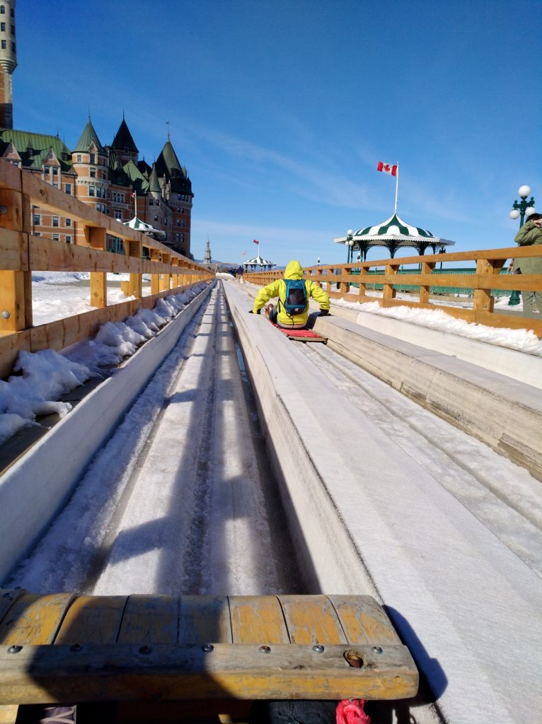 Simone winning the sled race on the Toboggan slide in Old Québec