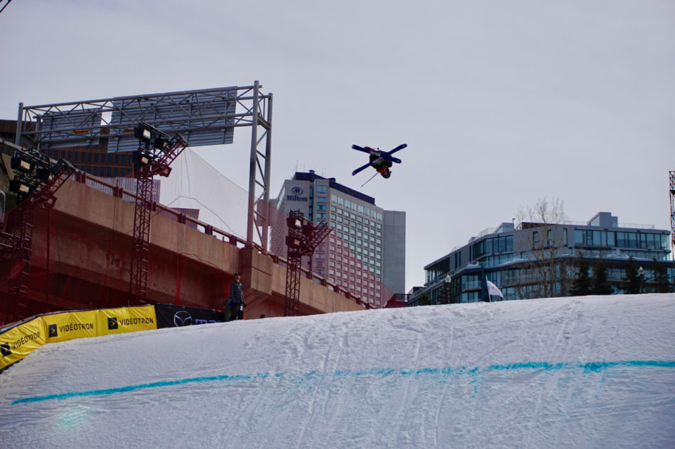 Watching contestants at Big Air World cup 2018 in Québec city