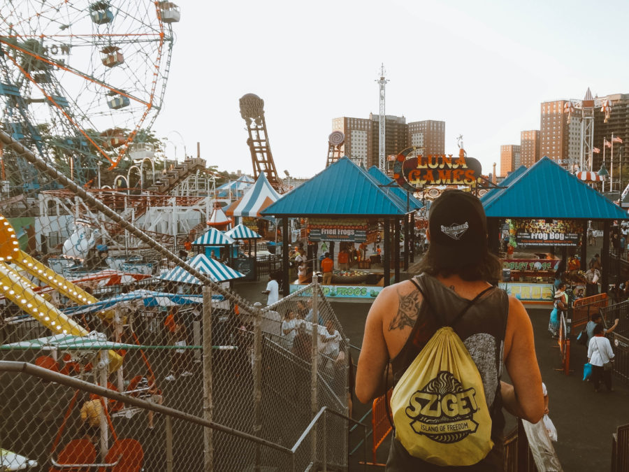 Off the beaten path things to do in New York Simone at the roller coaster park in Coney Island