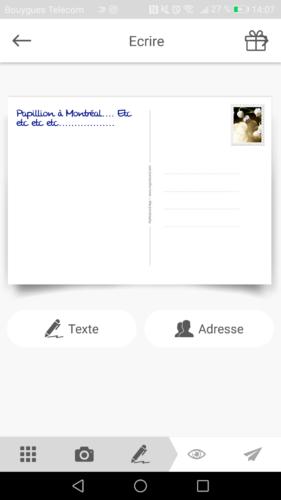 Resultat du texte sur la carte postale en ligne