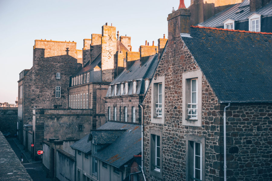 View on the pretty granite facade of the houses from the ramparts of saint malo