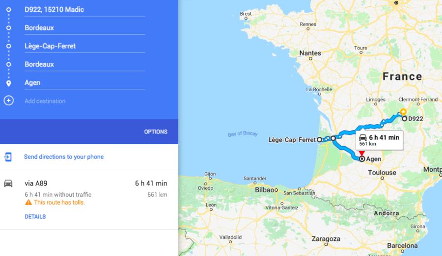 Van Road trip Bordeaux Cap Ferret Agen