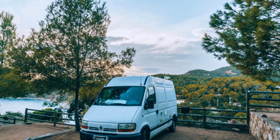 Our camper van with a beautiful view in Spain