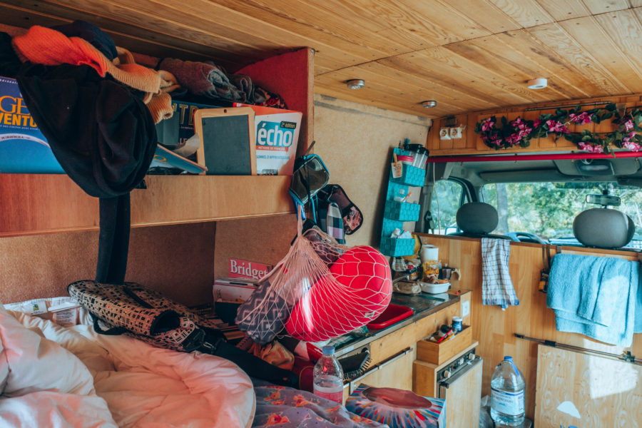 The huge mess in our converted van