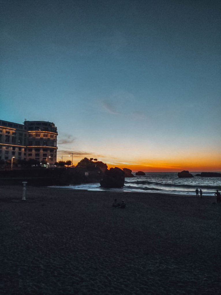 The sun setting down on the main beach in Biarritz France