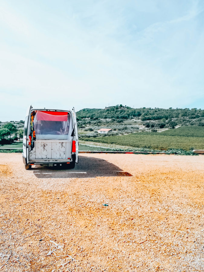 Our van in the south of France close to Nimes