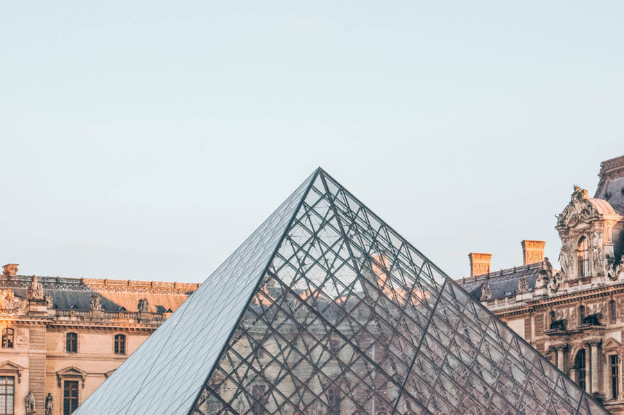 A view of the Pyramid of the Louvre in Paris