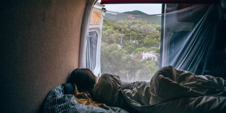 Alice in the van in Tossa de Mar in Spain