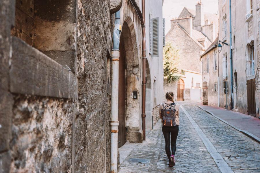 Alice walking in Beaune during our van trip in France