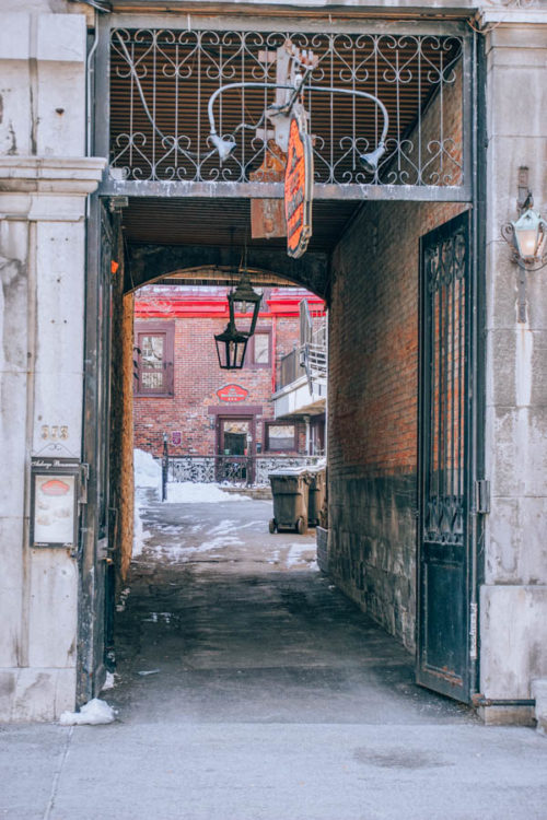 Cute passage in Old Montreal in March