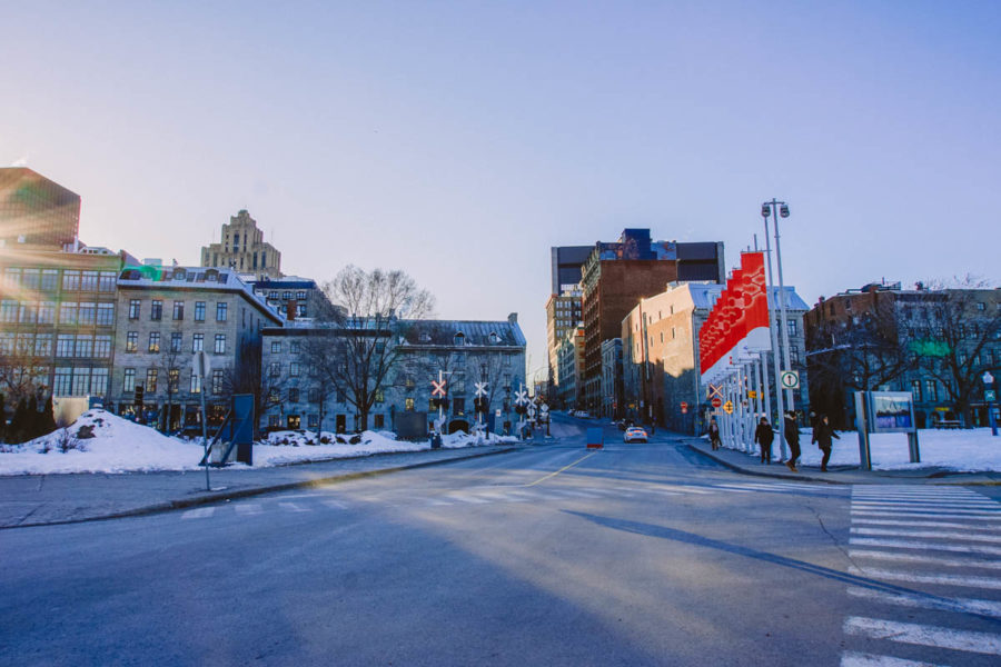 Old Town Montreal square in March