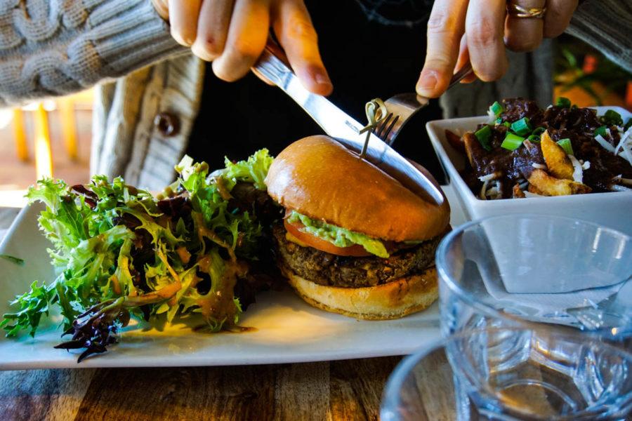 Simone's vegan burger at Lola Rosa in Montreal