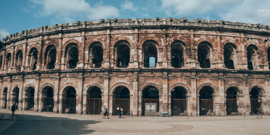 The arena of Nimes on our van trip around France
