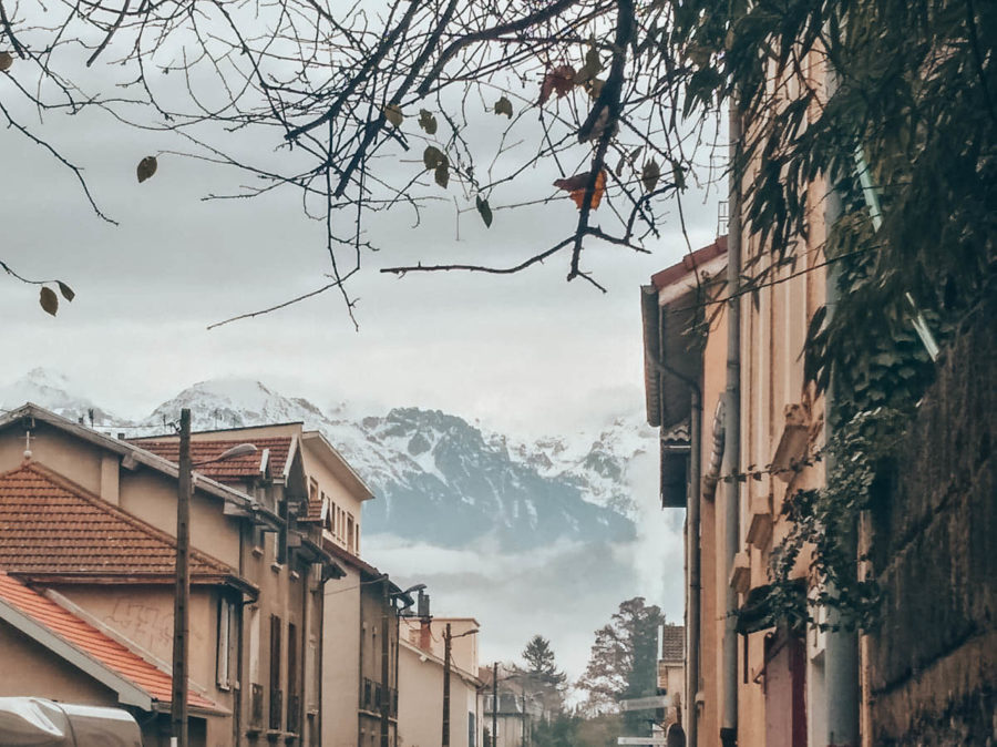 The view of the mountains with the snow from Grenoble