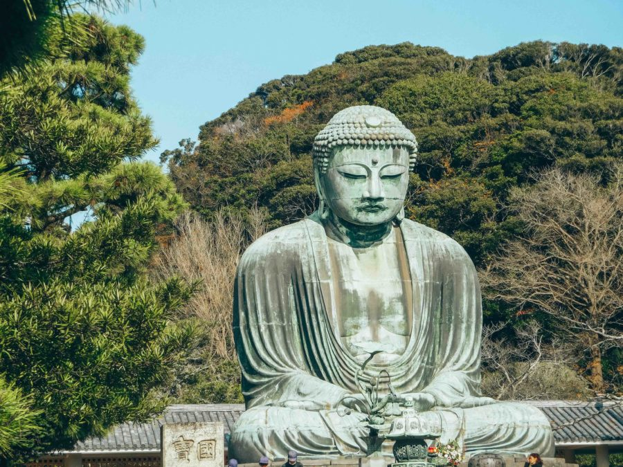 The Great Buddha in Kamakura on a day trip from Tokyo in winter