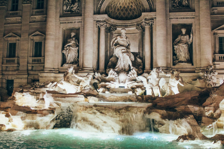 The Trevi Fountain in Rome at night