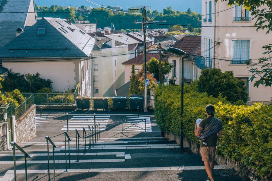 Evening walk in Aix les Bains city center